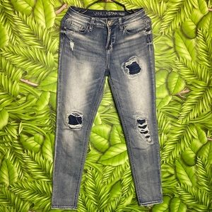 VANILLA STAR Mid Rise Skinny Patches Jeans Size 9
